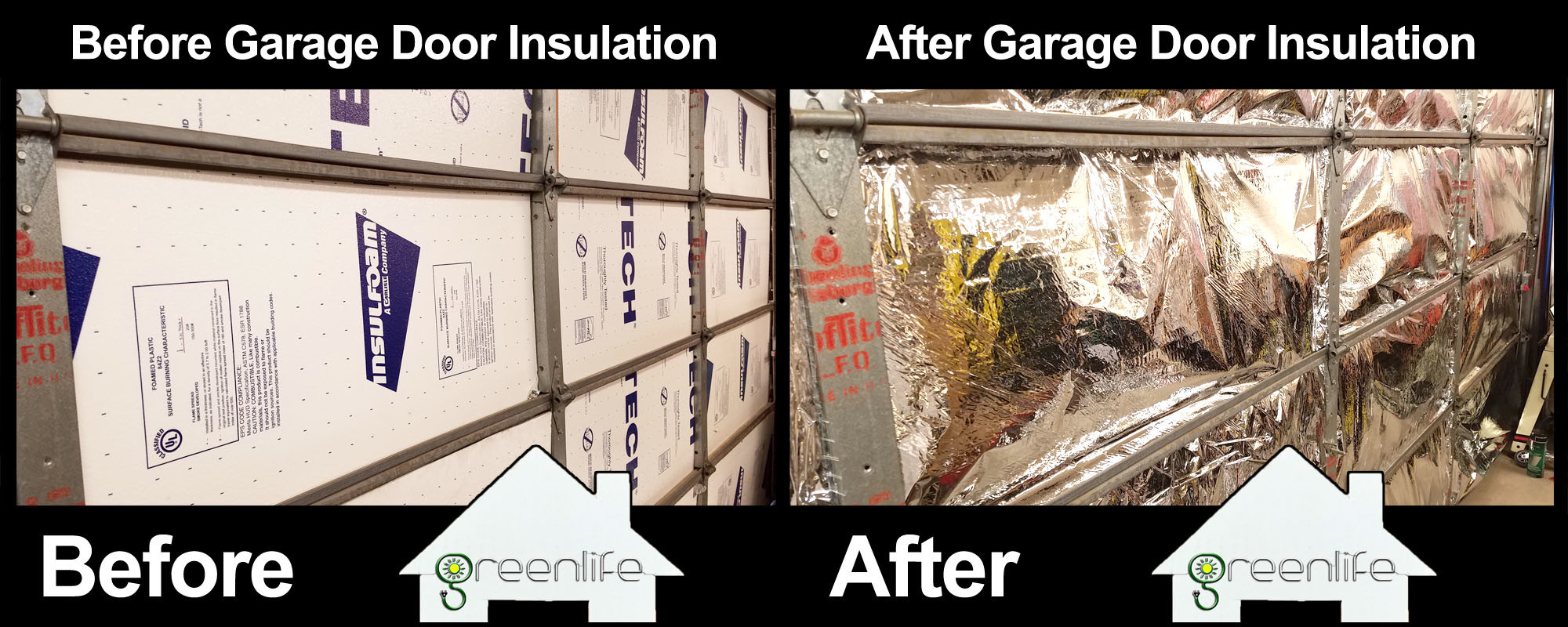 Garage Door Insulation Before & After Photo